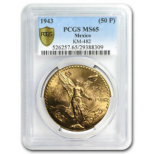 1943 Mexico 50 Pesos Gold Coin - MS-65 PCGS - Secure Plus - SKU #81893