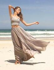 Bohemian Two Piece Beach Wedding Dress Applique Chiffon Bridal Gown 6 8 10 12 14