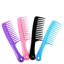 Hairdressing Salon Plastic anti-static handle wide Tooth Hair Comb Detangling tb