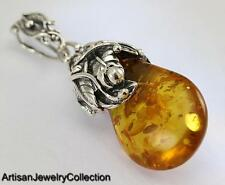 NATURAL BALTIC AMBER PENDANT 925 STERLING SILVER ARTISAN JEWELRY COLLECTION J003