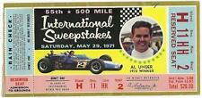 1971 Indianapolis 500 Mile Race Ticket Stub Indy