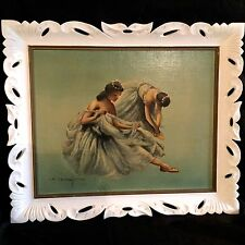 """VINTAE OIL PAINTING """"BALLERINAS""""CREATED BY J.COLLAZZI IN 1950S.ORIGINAL FRAME."""