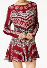 Free People Smooth Talker Printed Tunic Dress In Red Combo Size XS NWOT