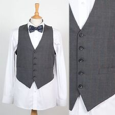 MENS VINTAGE GREY CHECK PLAID PATTERN WAISTCOAT VEST GILET COUNTRY GENT SMART S