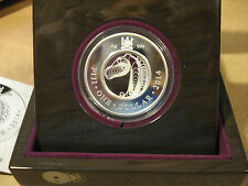 2014 FIJI 1 Dollar, Year of the Horse Filigree Coin Silver PROOF in Wood Box