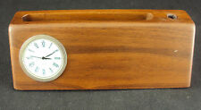 Business Card Holder w/Clock ~ Woodessen ~ Walnut, Solid Wood, Free Shipping NEW