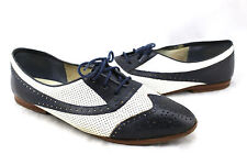 IPANEMA Vintage Navy Ivory White Leather Wingtip Spectator Oxford Shoes 10