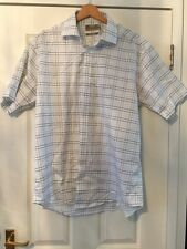 "M&S Shirt Pure Cotton Check 6"" 41cm Stay Smart Stiff Collar  N193"