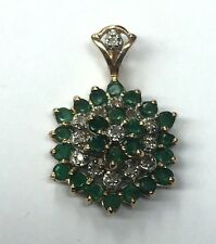 Vintage 14K Yellow Gold Diamond Green Emerald Flower Polygon Cluster Pendant