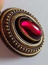 Fine Victorian 15ct Gold Etruscan Decorated Cabouchon Garnet Set Oval Pendant