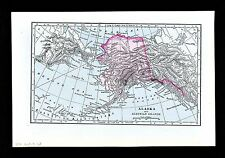 1896 Johnson Map - Alaska & Aleutian Islands - Sitka Yukon River Kodiac Island