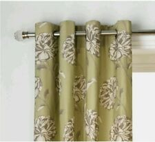 "RRP£44.99  100% Cotton Lined Eyelet Curtains 66x90"" 168x229cm Floral Leaf Green"