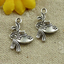 free ship 344 pcs tibetan silver women's hat charms 21x14mm #4626