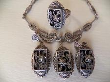 Vintage Art Deco sterling onyx & marcasite necklace ring & earring set demi