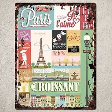 PP0118 Rust Handmade PARIS Sign Home Store Shop Cafe Interior Wall Decor Gift