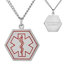 "PENICILLIN ALLERGY Stainless Steel Medical Hexagon Shape Pendant, 30"" Curb Chain"