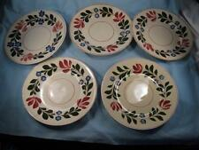 5 Alcazar Adams Bread & Butter Plates Titian Ware Red & Blue Flowers (O) AS IS