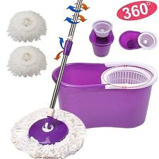 360° Rotating Head Easy Magic Floor Mop Bucket 2 Head Microfiber Spinning Purple