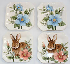 Maxcera FLORAL BUNNY 4 Appetizer Small Plates NEW Easter Rabbit Spring Tid Bit