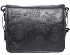 JOSYBAG Ledertasche KANSAS schwarz/ Rosen 3 Fächer+2 RV-Fächer Tasche