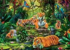 NEW! Jumbo Tiger Family at the Waterhole 1000 piece wildlife jigsaw puzzle