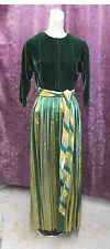 50-60s Forest Green Velvet and Green & Gold Lame Skirt & Sash Lounging Gown szSm