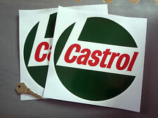 "CASTROL '68 on Round Classic Car Racing Stickers 8"" Pair Race Bike Historic"