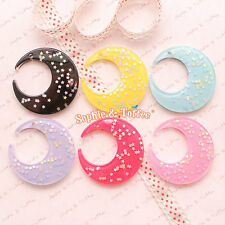 Huge Starry Moon Flat Back Resin Charm Cabochon - 6pc | Resin Cabochon Decoden