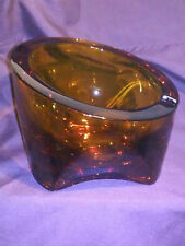 Viking Glass Ashtray Large Amber Heavy Vintage Retro Cool