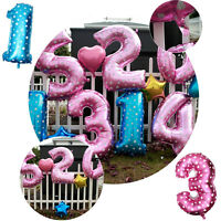 95cm Large Blue / Pink Number Balloon 0-9 Birthday Party Wedding Decoration