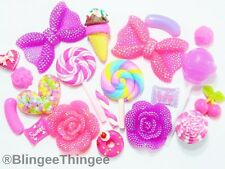 20 PC Hot Pink Purple Bows Flowers Candy Heart Flatback Resins Kawaii Cabochons
