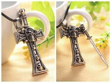 Unisex Men Punk Metal Skeleton Cross Sword Bronze Skull Head Pendant Necklace