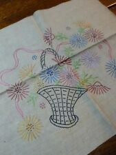 Vintage Hand Embroidered Table Topper Pillow Top French Knot Embroidery