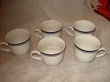 "Vtg 5-Anchor Dinnerware Coffee Mugs White W Navy Trim 3.25"" x 3.25"""