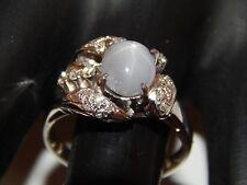 Art Deco 2.25 tcw Natural Ceylon Blue Star Sapphire Diamond E/VS 18k WG Ring WOW
