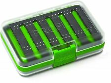 Leeda Profil Fly Box 250 Slot Foam Double Sided Clear Green Fishing Fly Box