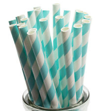 Pastel Blue Striped Paper Straws x 25 Retro Drinking Cocktail Party Barbecue