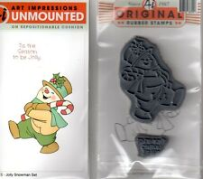 New cling ART IMPRESSIONS RUBBER STAMP Set Jolly Snowman Christmas + greeting