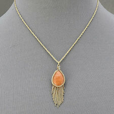 Gold Necklace Orange Aventurine Stone Pendant Tassels Bohemian Style Inspired
