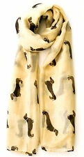 Beige Lightweight Sheer Brown Daschund Dog Print Scarf, Wrap, Shawl 34 x 74
