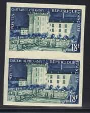 FRANCE MNH 1954 VILLANDRY CHATEAU ISSUE - IMPERF PAIR - BUILDING
