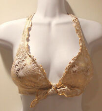 Victoria's Secret Beach Sexy Gold Paisley Halter Bikini Top X-Small NWOT