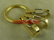 Outdoor Key ring Brass snap hooks clip EDC keychain (3pcs hooks + brass ring)