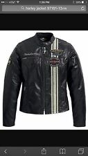 Women's NWT Harley-Davidson Vertical Stripe Leather jacket, Size Small, Rtl $295