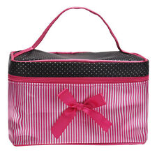 Travel Square Bow Stripe Cosmetic Bag Waterproof Makeup Bag Wash Organizer *