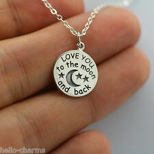 LOVE YOU TO THE MOON AND BACK NECKLACE - 925 Sterling Silver Charm Jewelry NEW