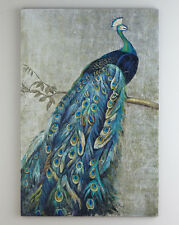 Framed Handmade Peacock oil painting with silver foil canvas for wall 24x36""