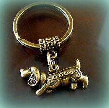 DACHSHUND DOG KEYCHAIN Jewelry - Art Deco Style - Weiner Sausage Puppy Pup