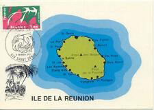 Carte 1 er jour ILE REUNION SAINT-DENIS 1977 plan