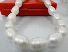 10-12mm white Freshwater PEARL loose beads 15""